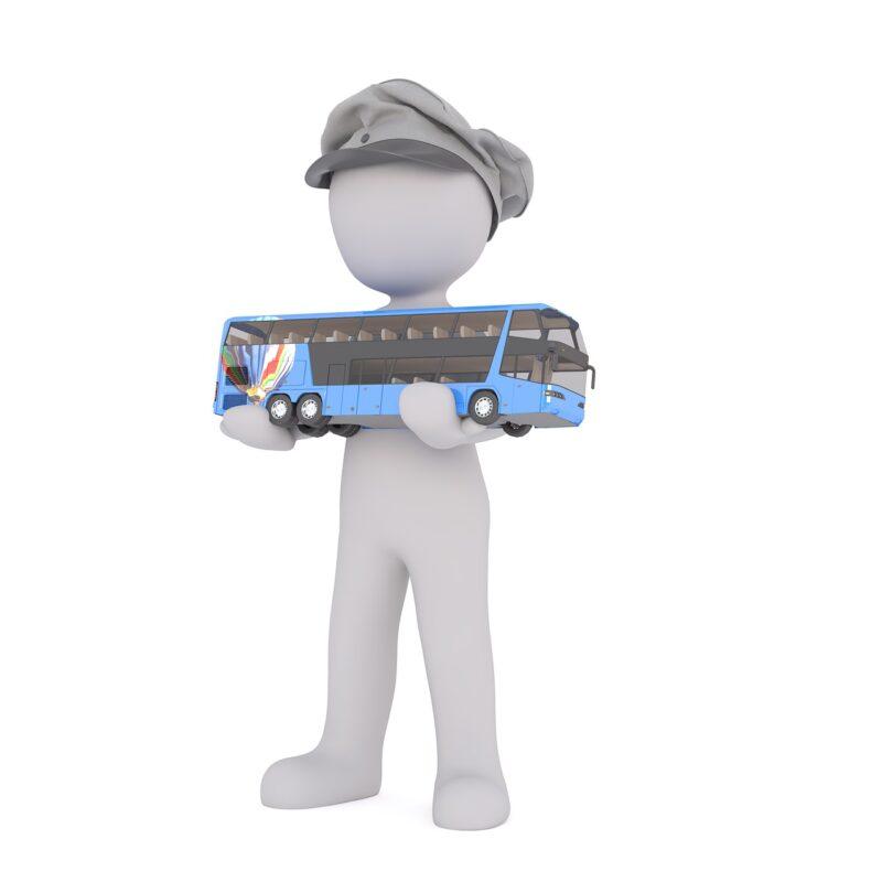 נהג מחזיק אוטובוס